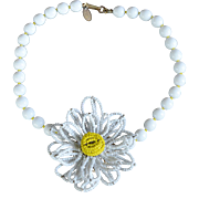 Vintage signed Miriam Haskell daisy white glass beads necklace