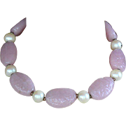 Vintage signed Miriam Haskell pink art glass faux pearl choker necklace