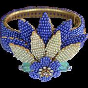 Vintage signed Stanley Hagler cobalt blue cuff bracelet