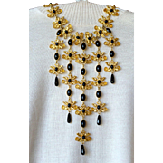 Vintage signed runway William deLillo faux amber black onyx bib necklace