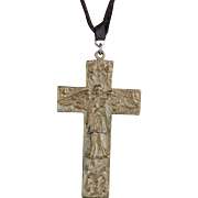 Antique Guardian Angel gold toned engraved cross leather necklace