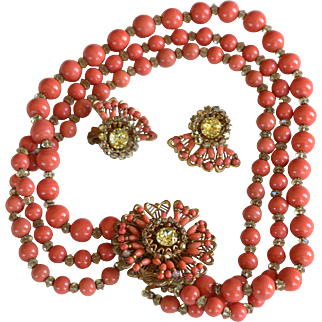 Vintage signed rare Miriam Haskell coral color 3 strand necklace and earrings