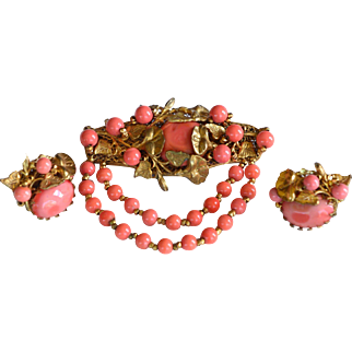 Vintage signed Miriam Haskell coral color gold tone brooch/pin and earrings