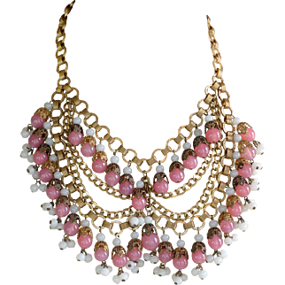 Vintage signed Miriam Haskell pink and white glass bead festoon necklace