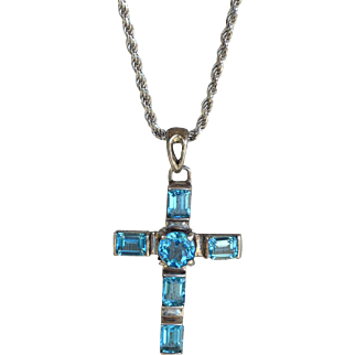 Vintage blue topaz sterling silver cross pendant sterling silver long chain necklace