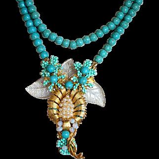 Vintage Stanley Hagler signed aqua blue glass beads clear leaves necklace