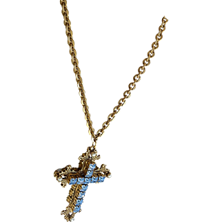 Miriam Haskell vintage double sided reversible blue green cross necklace chain