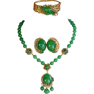 Vintage Miriam Haskell signed three piece parure necklace bracelet earrings green