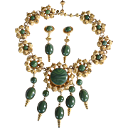 Vintage signed William deLillo 1970's dark green gold-toned rare Etruscan necklace and earrings