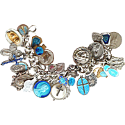 Vintage religious Catholic medals on sterling silver Tiffany & Co. charm bracelet