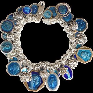 Vintage Catholic religious sterling silver charm bracelet blue enamel medals