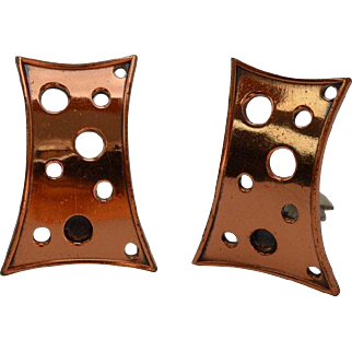 Renoir Modernist Copper Earrings