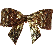 Vintage Woven Goldtone Bow Brooch Pin