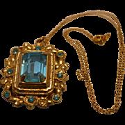 Aqua Blue Vintage Pendant Necklace