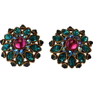 Cabochon Rhinestone Earrings