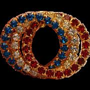 Patriotic Vintage Circles Brooch Pin