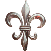 Sterling BB Fleur de Lis Watch Fob Brooch Pin