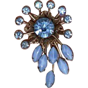 Blue Rhinestone Spray Brooch Pin