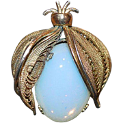 Large Faux Moonstone Brooch Pin