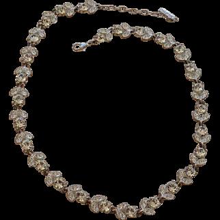 Napier Rhinestone Flowerette Necklace