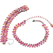 Fabulous Pink Rhinestone Necklace and Bracelet Set