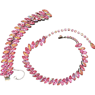 Fabulous Pink Rhinestone Necklace and Bracelet Set
