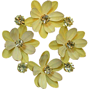 Yellow Daisy Circle Brooch Pin