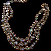 Three Strand Crystal Necklace