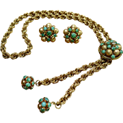 Faux Malachite Lariat Necklace and Earrings