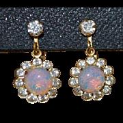 Faux Opal Dangle Earrings