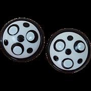 MOD Domed Black and White Earrings