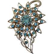 Aqua Blue Flower Spray Brooch Pin