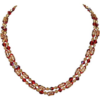 Vintage Red Rhinestone and Gold Bead Double Strand Necklace