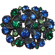 AUSTRIA Blue Green Rhinestone Brooch Pin