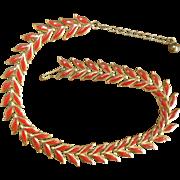 Vintage Red Leaf Necklace