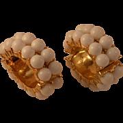 Mod White Bead Earrings