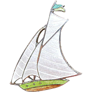 Enamel Sailboat Brooch Pin