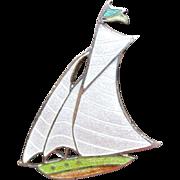 Enamel Sailboat Brooch Pin