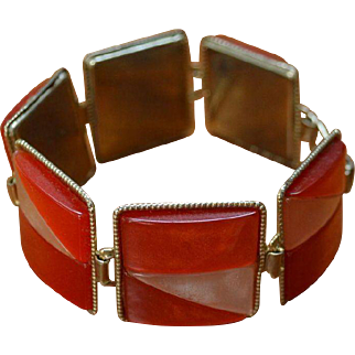 Orange Creamsicle Modernist Link Bracelet