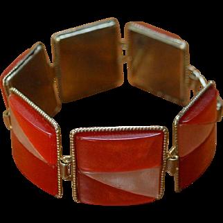 Orange Creamsicle Modernist Link Bracelet