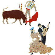 Bullfighter and Tango Brooch Pins