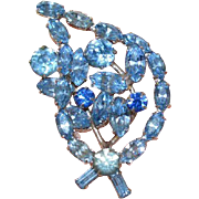 Aqua Blue Rhinestone Flower Spray