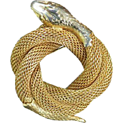 Vintage Circle Mesh Snake Brooch Pin