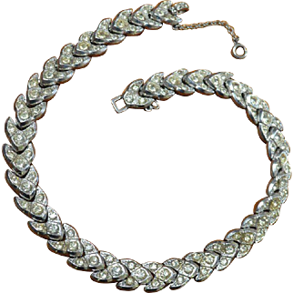 Vintage Rhinestone Chevron Necklace