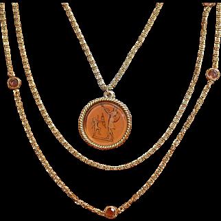 GOLDETTE Multi Chain Intaglio Medallion Necklace