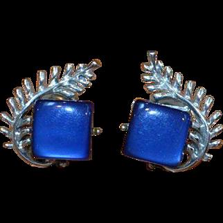 Blue Thermoset CORO Earrings