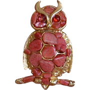Faux Coral Owl Brooch Pin