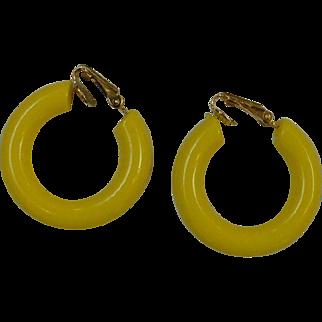 1960's Yellow Hoop Earrings
