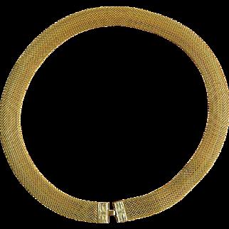 Vintage La Mode Gold Filled Mesh Necklace