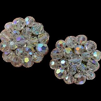 Large Crystal Disc Earrings